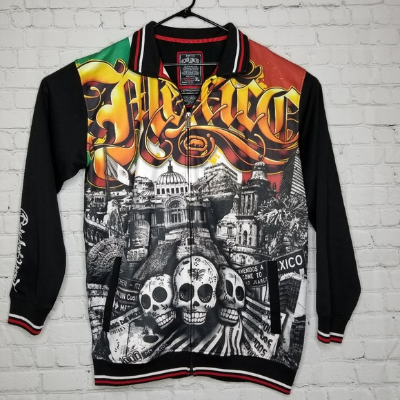 ECKO MEXICO DAY OF THE DEAD SKULLS TRACK JACKET XL